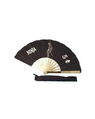Metallfächer Ninja Motiv [schwarz 60cm]