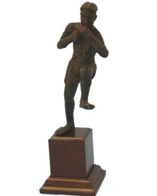 Thai Boxing Statue [Messing mit Holzsockel]