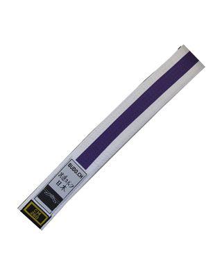 Gürtel BUDO.CH weiss mit Streifen violett
