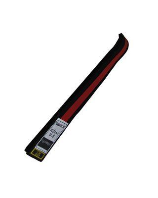 Obi schwarz mit rotem Streifen [40mm breit, 8 Nähte