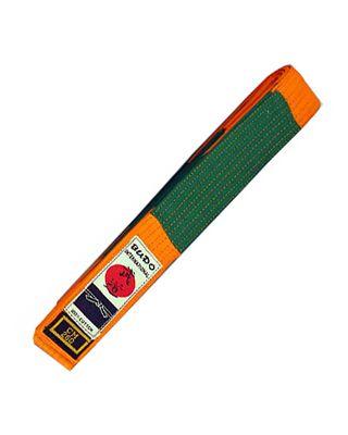 Gürtel BUDO.CH mit Balken orange+grün