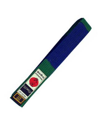 Gürtel BUDO.CH mit Balken grün+blau