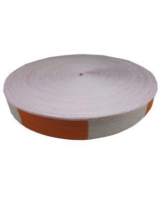 Gürtelrollen weiss/orange Balken [50 Meter]