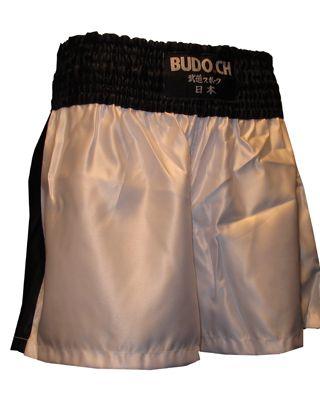 Boxing Shorts [weiss Bund+Streifen schwarz]